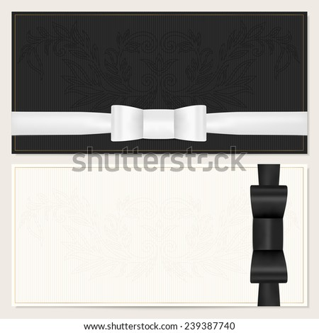 Voucher, Gift certificate, Coupon, Invitation or Gift card template with black (bow tie) bow (ribbon), floral (scroll) pattern, gold text. Dark background design for banknote, check (cheque) - stock photo