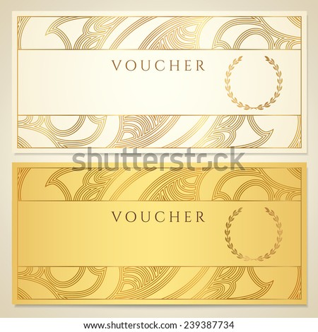 Voucher, Gift certificate, Coupon template. Floral, scroll pattern (border, frame). Gold background design for invitation, ticket, banknote, money design, currency, check (cheque) - stock photo