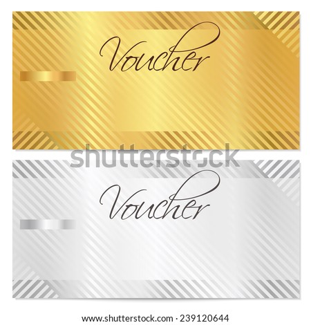 Voucher, Gift certificate, Coupon template with stripe pattern. Gold and silver background for money design, currency, note, check (cheque), ticket, reward on birthday, christmas etc. - stock photo