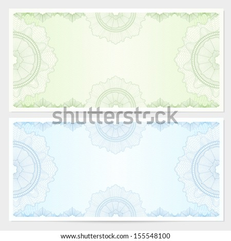 Voucher, Gift certificate, Coupon, ticket template. Guilloche pattern (watermark, spirograph). Blank background for banknote, money design, currency, bank note, check (cheque), ticket. Green, blue  - stock photo