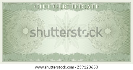 Voucher, Gift certificate, Coupon, ticket template. Guilloche pattern (watermark, spirograph). Green background for banknote, money design, currency, bank note, check (cheque), ticket - stock photo