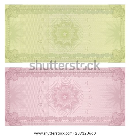 Voucher, Gift certificate, Coupon, ticket template. Guilloche pattern (watermark, spirograph). Background for banknote, money design, currency, bank note, check (cheque), ticket - stock photo