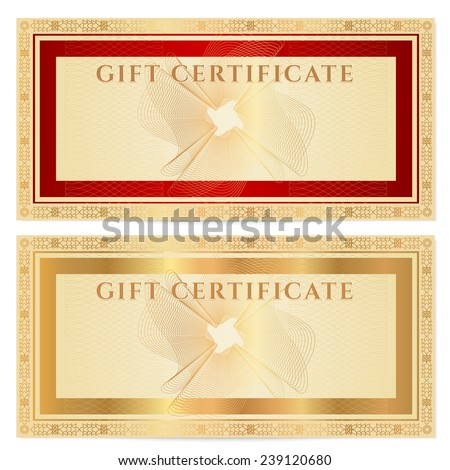 Voucher, Gift certificate, Coupon, ticket template. Guilloche pattern (watermark) with gold floral border, red frame. Vector background for banknote, money design, currency, bank note, check (cheque) - stock photo