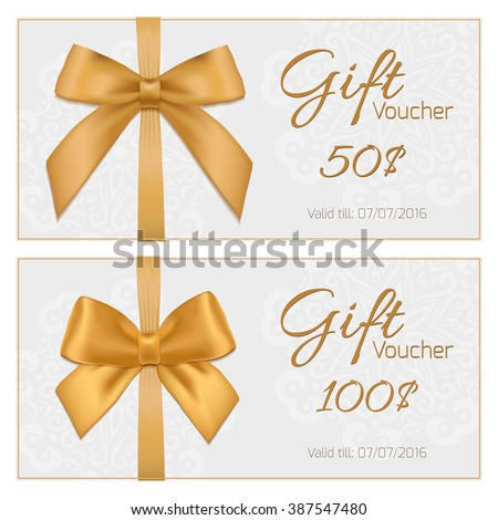 Voucher template with floral pattern, border, red and gold bow and ribbons. Design usable for gift coupon, voucher, invitation, certificate, diploma, ticket etc.  Gift Voucher