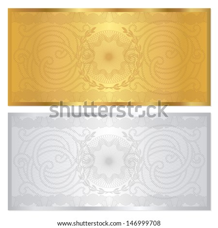 Voucher template with guilloche pattern (watermark) and border. Background design for gift voucher, coupon, banknote, certificate, currency, check (cheque). Golden, silver colors. Vector in portfolio - stock photo