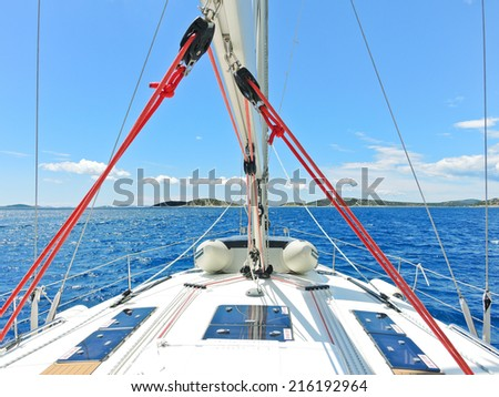 voyage on yacht in blue Adriatic sea, Dalmatia, Croatia - stock photo