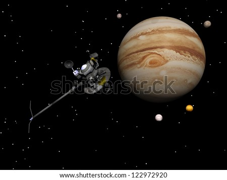 Voyager spacecraft near Jupiter and four of its famous satellites - Io, Europa, Ganymede and Callisto - by night - Elements of this image furnished by NASA - stock photo