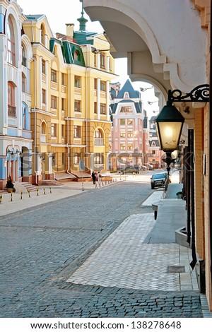 Vozdvizhenska street in Kiev, Ukraine in the evening - stock photo