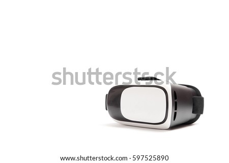 VR Box / Virtual Reality glasses in a lower right corner, isolated on white background.