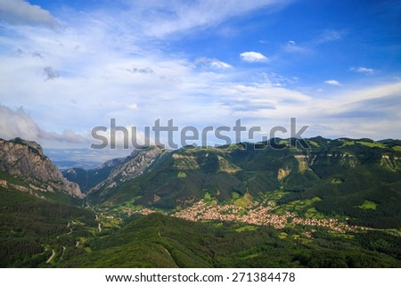 Vratzata is a beautiful mountain pass in Balkan Mountains, near the Bulgarian city Vratza. One of the best places for climbing in Europe. - stock photo