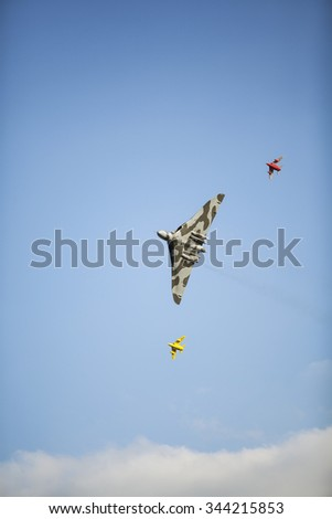 Vulcan Bomber & fighter jets over the skies of Church Fenton in Yorkshire for the first air show at Leeds East Airport, September 2015.