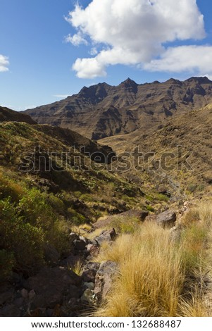 Vulcan moutain and valley landscape at Gran Canary in Spain.