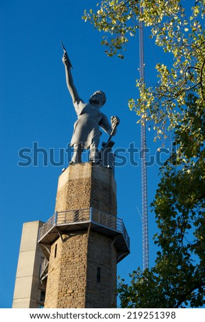 Vulcan, The Roman God of Iron looks over the city of Birmingham, Alabama. - stock photo