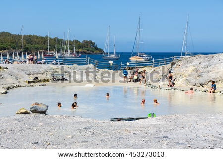 VULCANO, ITALY - MAY 24: People relaxing in healthy mud pool on May 24, 2016 at Aeolian Islands near Sicily, Italy