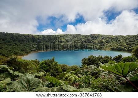 Vulcano Poas crater in Costa Rica, Central America. - stock photo