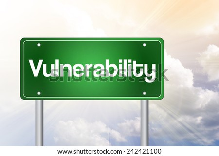 Vulnerability Just Ahead Green Road Sign, Business Concept  - stock photo