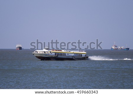 VUNG TAU, VIETNAM - DEC 27, 2015 - Hydrofoil moving from Ho Chi Minh city to Vung Tau city