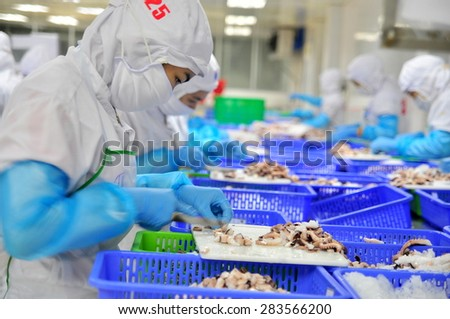 VUNG TAU, VIETNAM - DECEMBER 9, 2014: Workers are cutting octopus for exporting in a seafood processing factory
