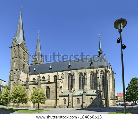VYSOKE MYTO, CZECH REPUBLIC - AUGUST 7: The Gothic church of St. Lawrence on August 7, 2013. Vysoke Myto-High Toll (German Hohenmauth; Latin Alta Muta) is a one of the oldest town in eastern Bohemia
