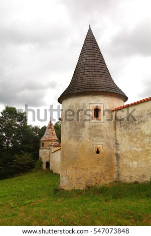 Vyssi Brod monastery wall with towers, czech republic
