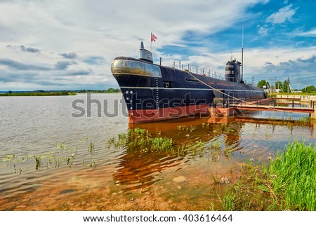 VYTEGRA, RUSSIA - circa AUGUST 2015: Russian Nuclear Diesel-Electric Submarine B-440 (Foxtrot) anchored in Vytegra Submarine Museum - stock photo