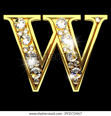w isolated golden letters with diamonds on black