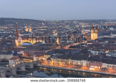 Würzburg city at night