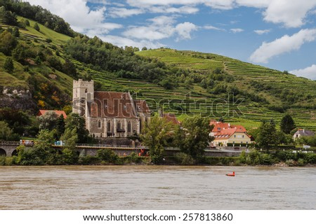 Wachau Valley with St. Michael church - stock photo