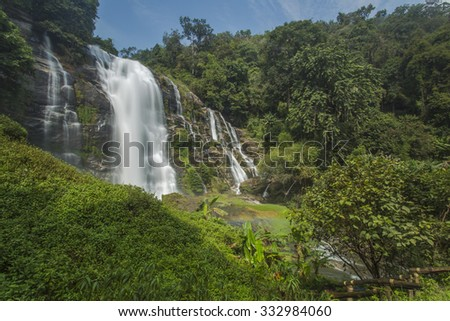 Wachirathan Waterfalls at Doi Inthanon national park , Chiang mai, Thailand