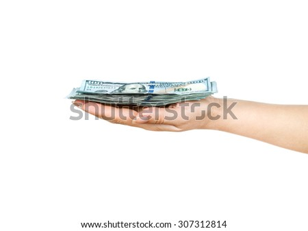 Wad of one hundred dollar bills held in hand