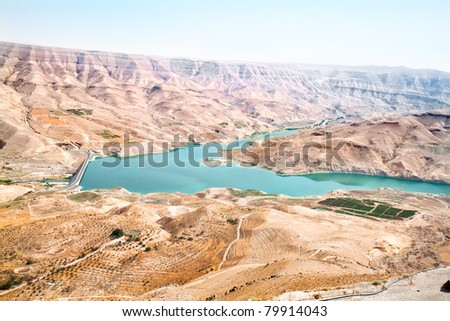 Wadi Al Mujib panoramic view on beautiful mountain and lake, Jordan - stock photo