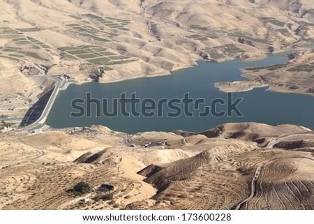 Wadi el Mujib Dam and Lake, Jordan - stock photo