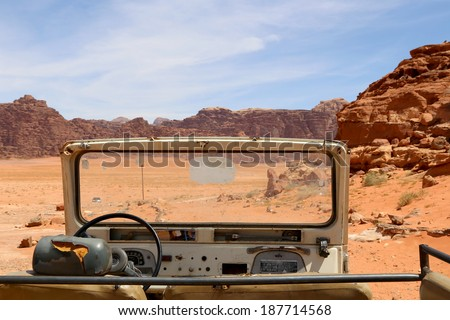 WADI RUM DESERT, JORDAN -Â?Â? APRIL 10: April 10, 2014. Wadi Rum Desert also known as The Valley of the Moon is a valley cut into the sandstone and granite rock in southern Jordan