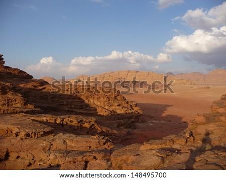 Wadi Rum desert landscape in Jordan in the Middle East - stock photo