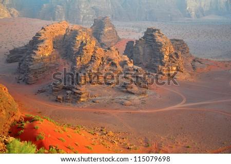 Wadi Rum desert landscape,Jordan - stock photo