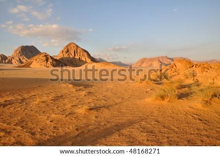 Wadi Rum sunset - stock photo