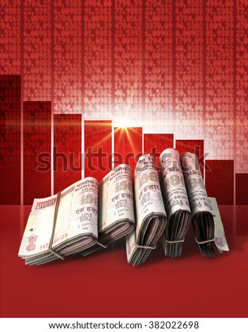 Wads of folded stacks of indian rupee banknotes on a red digital stock market indicator board background with a decreasing red bar graph  - stock photo
