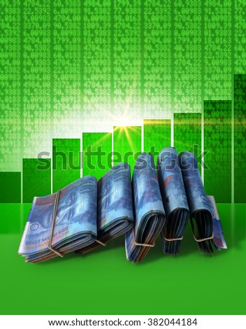 Wads of folded stacks of swiss franc banknotes on a green digital stock market indicator board background with an increasing green bar graph  - stock photo