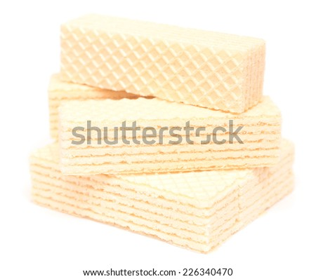 Wafer biscuit isolated on white background - stock photo
