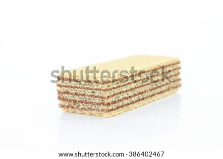 wafer chocolate dessert on white background