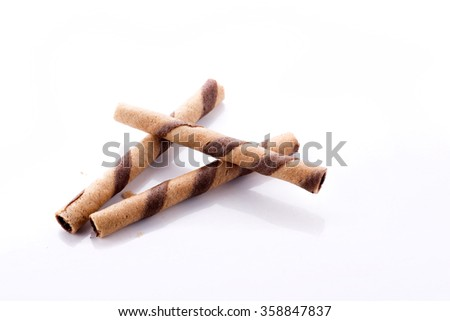Wafer Chocolate sticks on white background
