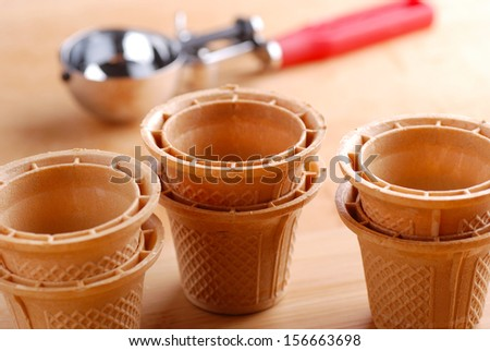 Wafer cups for Ice-Cream on the table