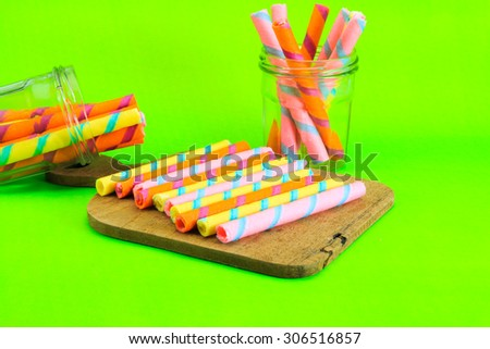 wafer roll on green background