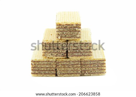 Wafer Snacks with a mixture of chocolate. Place a ladder shape on white background - stock photo