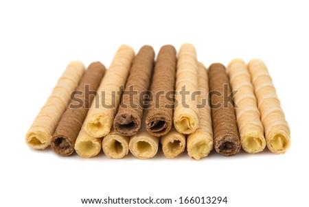 wafer sticks isolated on white background - stock photo