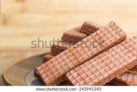 Wafers on a plate. Selective focus - stock photo