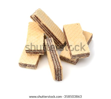 Wafers with chocolate on white background.