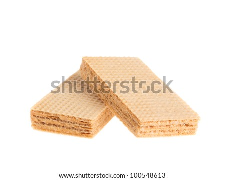 Waffle cake isolated on white background