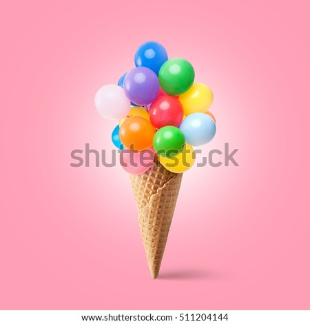 Waffle cornet with balloons