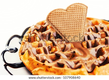 Waffle dessert with chocolate and hazelnut cream (selective focus) - stock photo